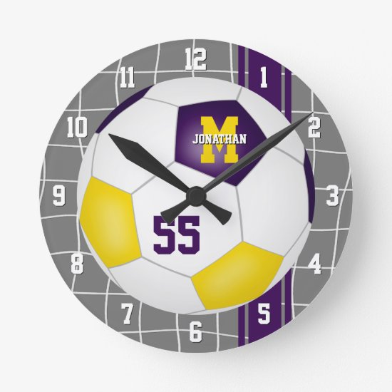 purple gold team colors varsity stripes soccer round clock
