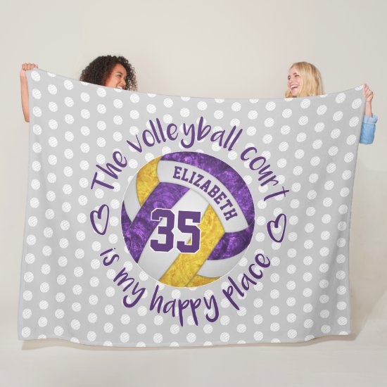 purple gold The volleyball court is my happy place Fleece Blanket