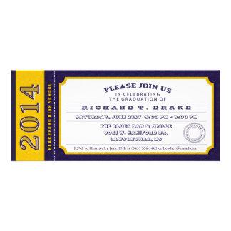 Purple & Gold Ticket Graduation Party Invitation