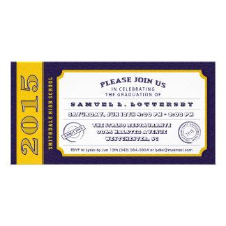 Purple & Gold Ticket Graduation PhotoCard Invites Personalized Photo Card