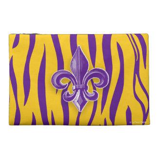 Purple Gold Tiger Stripe w Fleur de Lis Travel Accessory Bag