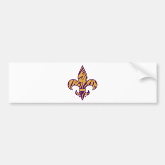 Purple & Gold Tiger Striped Fleur de Lis Bumper Sticker