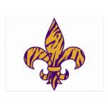 Purple & Gold Tiger Striped Fleur de Lis Post Card