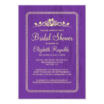 Purple Gold Vintage Barn Wood Bridal Shower Invite