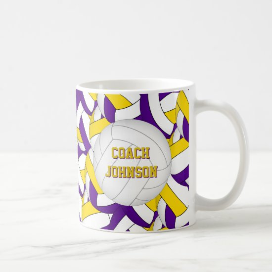 purple gold volleyball team colors coach gift coffee mug