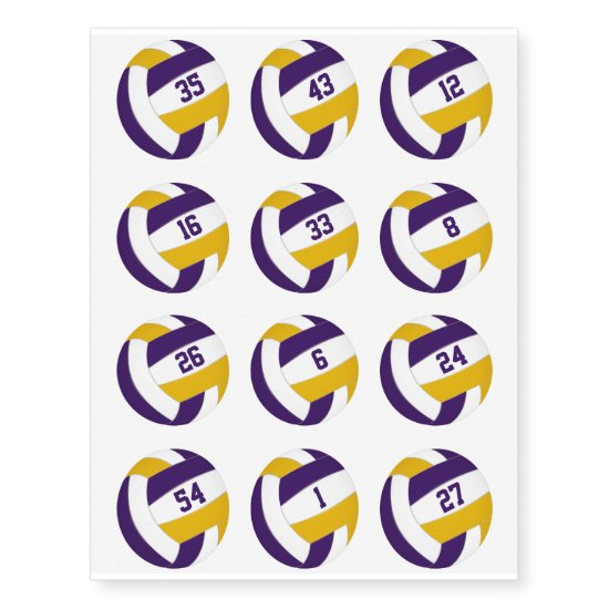 purple gold volleyballs w jersey numbers set of 12 temporary tattoos