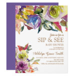 Purple Gold Watercolor Floral  Sip See Baby Shower Invitation