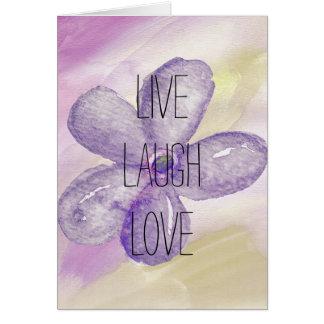 Purple Gold Watercolor Live Flower Card