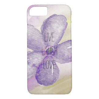 Purple Gold Watercolor Live Flower iPhone 7 Case