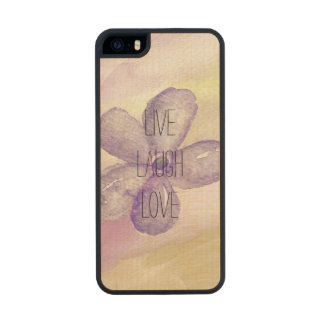 Purple Gold Watercolor Live Flower Wood Phone Case For iPhone SE/5/5s