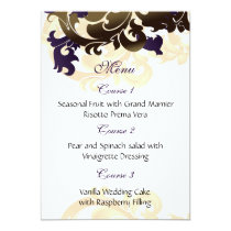 purple gold wedding menu card