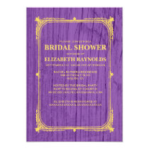 Purple Gold Western Barn Wood Bridal Shower Invite