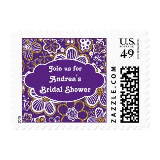 Purple Gold Whimsical Floral Flower Bridal Shower Postage