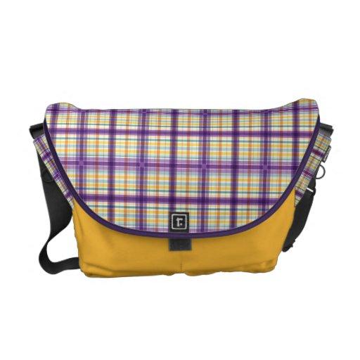 Purple Gold White Green Madras Plaid Messenger Bag
