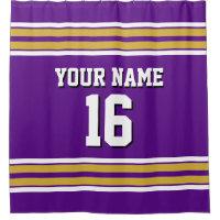 Purple Gold White Stripes Sports Jersey Shower Curtain
