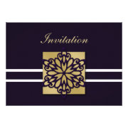 purple and gold snowflakes winter wedding invites by mgdezigns