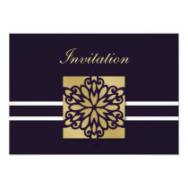 purple gold winter wedding Invitation cards