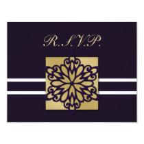 purple gold winter wedding rsvp cards