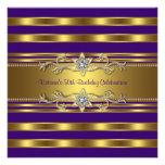 Purple Gold Womans 50th Birthday Party Custom Invitation