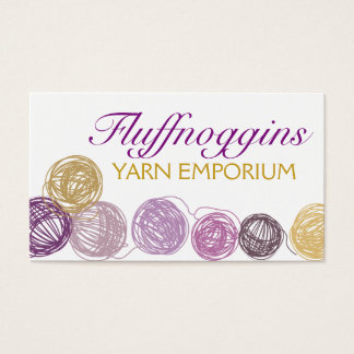 Purple gold yarn balls knitting crochet homespun business card
