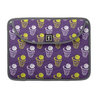 Purple, Gold Yellow, White, Basketball Chevron MacBook Pro Sleeves