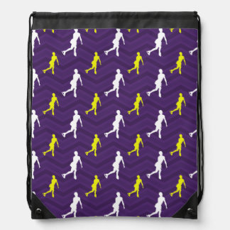 Purple, Gold Yellow, White, Figure Skating Chevron Drawstring Bag