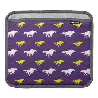 Purple, Gold Yellow, White, Horse Racing Chevron iPad Sleeves