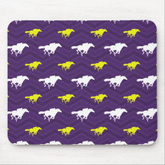 Purple, Gold Yellow, White, Horse Racing Chevron Mouse Pad