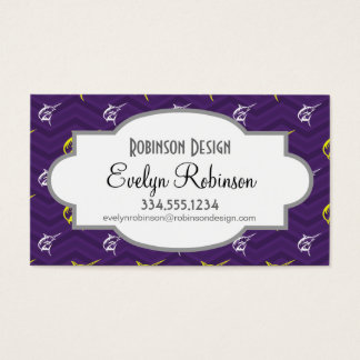 Purple, Gold Yellow, White, Offshore Fishing Business Card