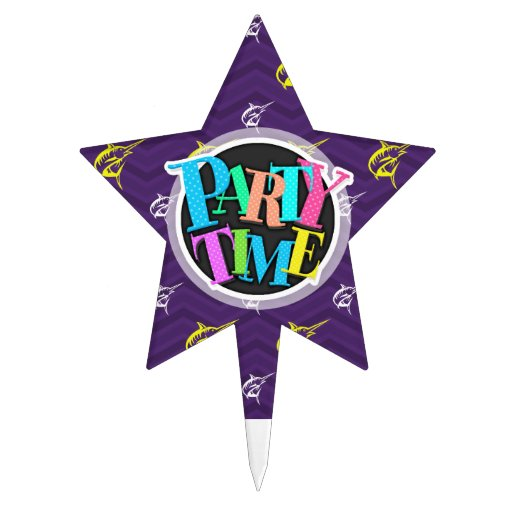 Purple, Gold Yellow, White, Offshore Fishing Cake Toppers
