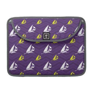 Purple, Gold Yellow, White, Sailboat; Chevron Sleeve For MacBooks