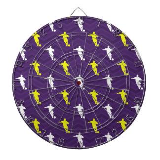 Purple, Gold Yellow, White, Soccer Player Chevron Dartboard