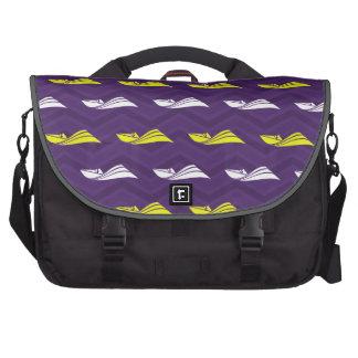 Purple, Gold Yellow, White, Speed Boat Chevron Laptop Commuter Bag