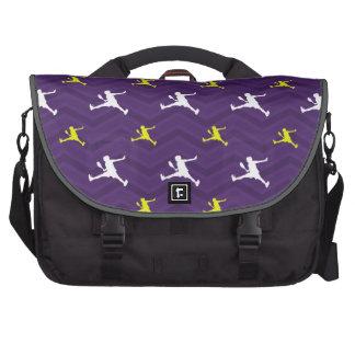Purple, Gold Yellow, White, Tennis Chevron Laptop Computer Bag