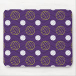 Purple, Gold Yellow, White, Volleyball Chevron Mouse Pad