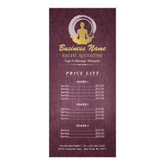 Purple Gold Yoga Meditation ZEN Symbol Price List Rack Card