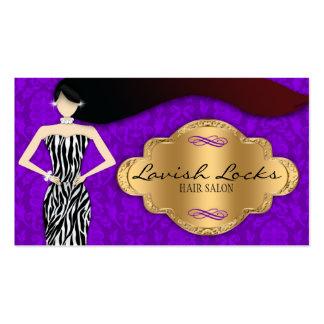 Purple Gold Zebra Damask Hair Stylist Salon Business Card Templates