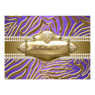 Purple Gold Zebra Womans 50th Birthday Party Card