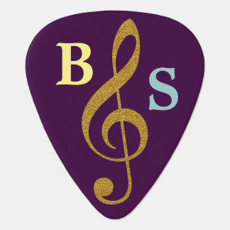 purple golden g clef musical note personalized guitar pick