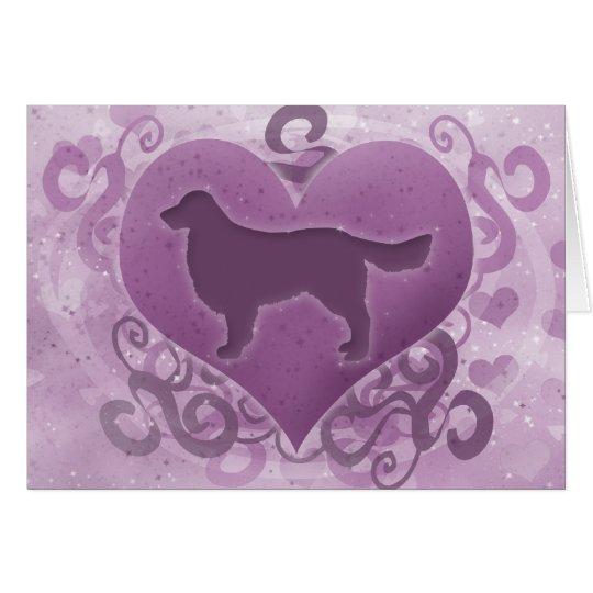 Purple Golden Retriever Valentine's Day Card
