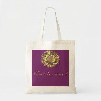 Purple Golden Sunflower Personalized Name Monogram Tote Bag