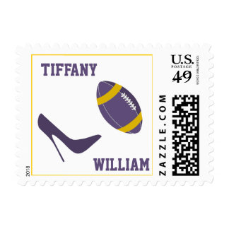 Purple & Golden Yellow Football Themed Stamps