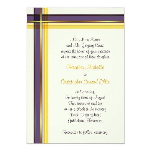 Purple Amp Golden Yellow Plaid Wedding Invitation