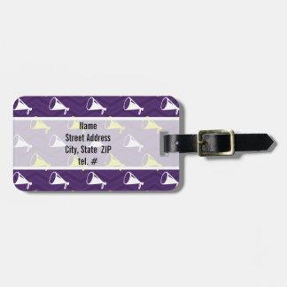 Purple, Golden Yellow, White, Cheerleader Chevron Travel Bag Tags