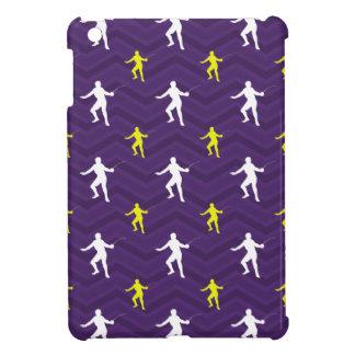 Purple Golden Yellow White Fencing Chevron iPad Mini Cases