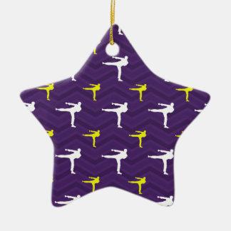 Purple, Golden Yellow, White, Karate Chevron Double-Sided Star Ceramic Christmas Ornament