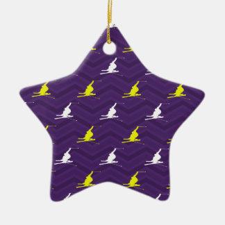 Purple, Golden Yellow, White, Snow Ski Chevron Double-Sided Star Ceramic Christmas Ornament