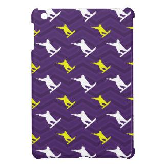Purple Golden Yellow White Snowboarding Chevron iPad Mini Covers