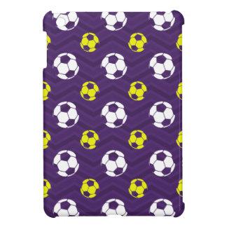 Purple Golden Yellow White Soccer Ball Chevron Cover For The iPad Mini