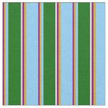 [ Thumbnail: Purple, Goldenrod, Light Sky Blue, Green & White Fabric ]